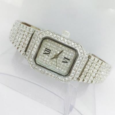 Catwalk Fashionable Cz Stone Covered Analog Stainless Steel Silver Dial Watch for Women, CW1017