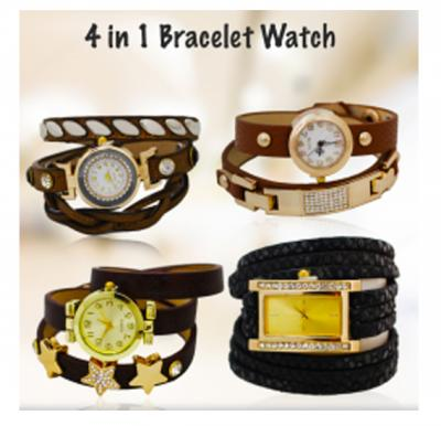 Generic 4 In 1 Bundle Fashion Leather Bracelet Watch