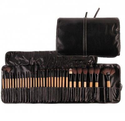 32 Pcs Brown Handle Professional Makeup Brush Gift Set Kit with Black Folding PU Leather Bag