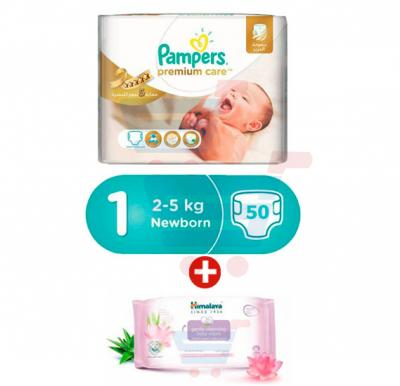 Bundle Offer Pampers Premium Care Newborn, 50 Count (1x50Pcs)+Himalaya Gentle Cleansing Baby Wipes 56s