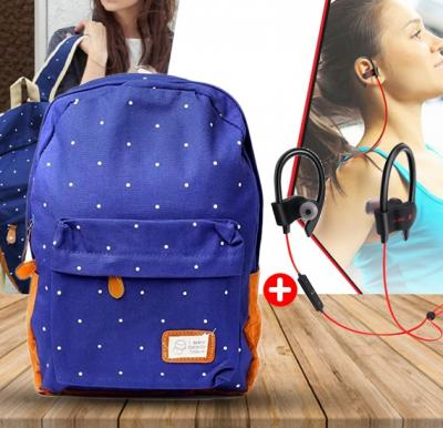 2in1 bundle of Canvas Shoulder bag with Wireless Sports Bluetooth Stereo Headset