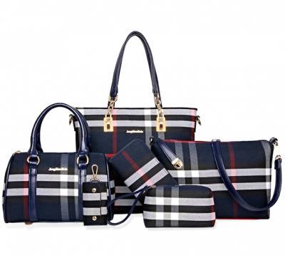 Womens 6 Piece PU Leather Elegant Plaid Tote Bag 6pcs, Blue