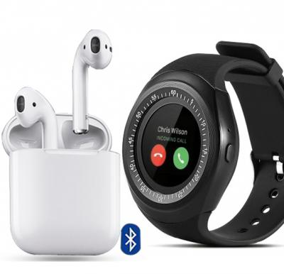 2 in 1 Combo Offer Zooni Y1 Bluetooth Smart Watches With Micro Sim And TF Card And I12 TWS Bluetooth Earphone Pop-up Wireless Earphones