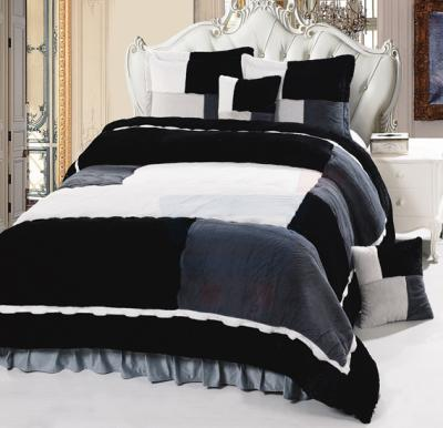 Senoures Velour Comforter 6Pcs Set King - SPV-003 Grey