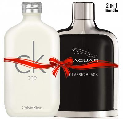 2 in 1 Bundle Offer,  Jaguar Classic Black Edt Perfume 100ml with Calvin Klein One Edt 100ml Perfume for Men