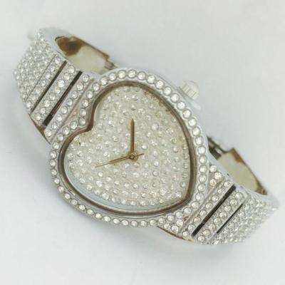 Catwalk Fashionable Cz Stone Covered Analog Stainless Steel Silver Dial Watch for Women, CW1011
