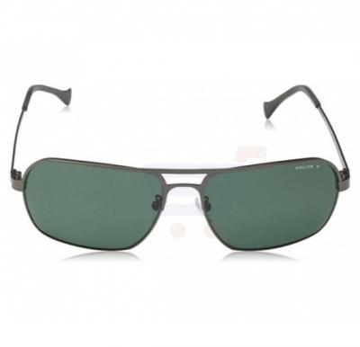 Police Rectangular Gun Metal Frame & Polarized Green Lens Mirrored Sunglasses For Men - SPL147-627P