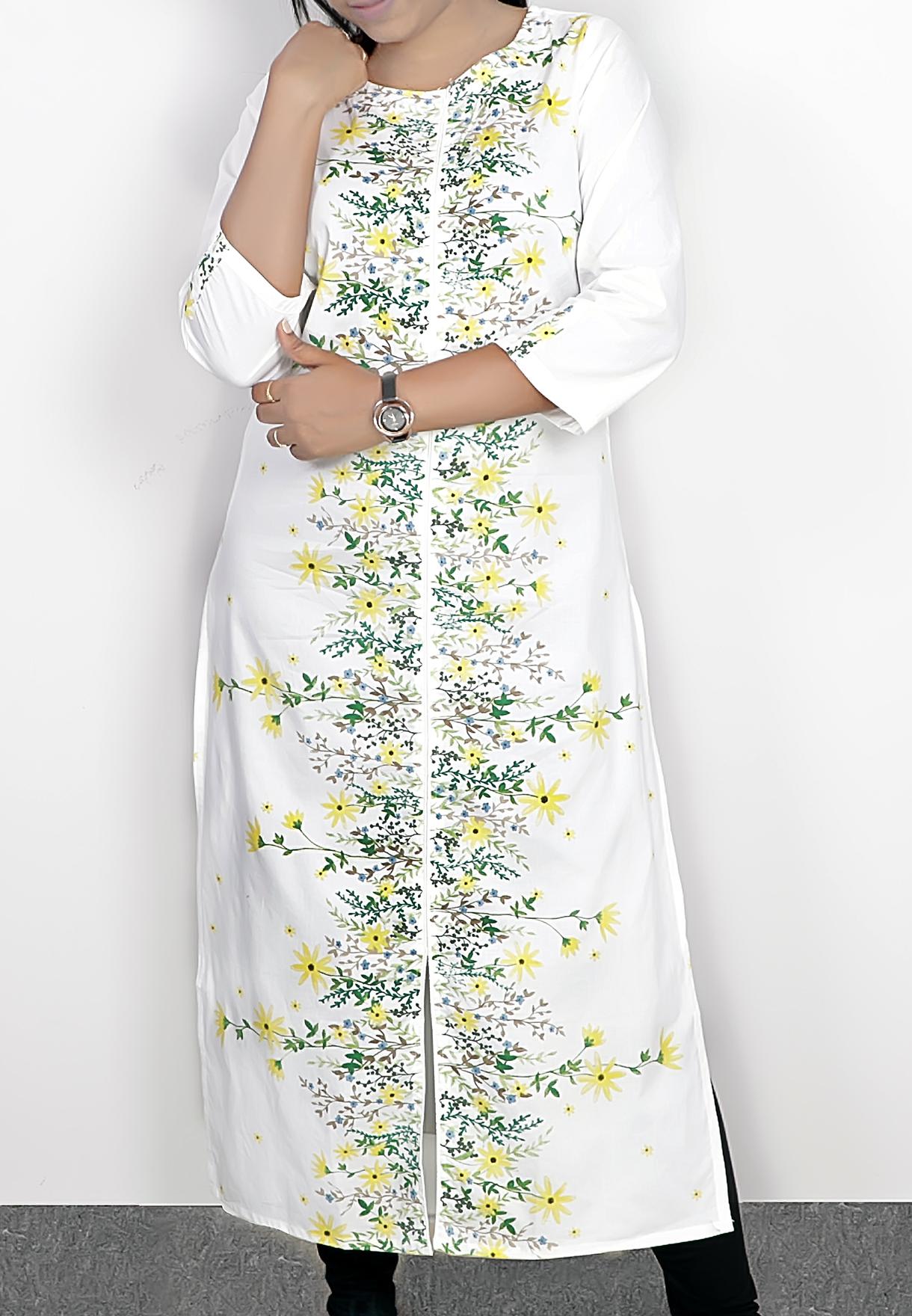 Ruky Fareen Long Top Full Sleeve Kurthees Cotton Yellow Flower - RF 108 - M