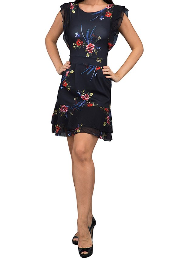 WAL G Italy Floral Stretch Frill Sleeve Casual Dress Black - WG 67125 - XL