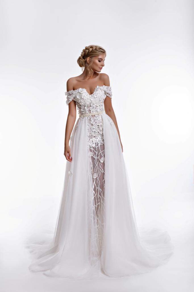 Buy D & D Ball Gown Golden Colour Flared Wedding Dress - 17117 - M ...