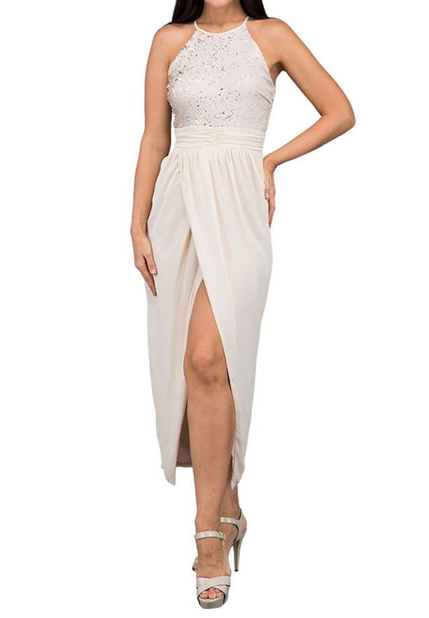 TFNC London Salma Midi Formal Dress Nude - EG 8501 - L