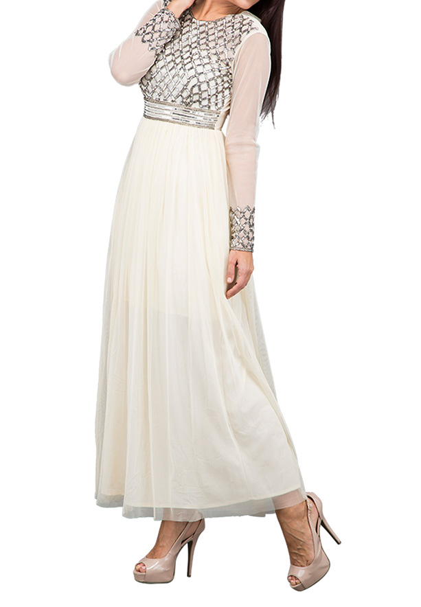 TFNC London Geranium Maxi Evening Dress Cream - ANQ 45170 - L