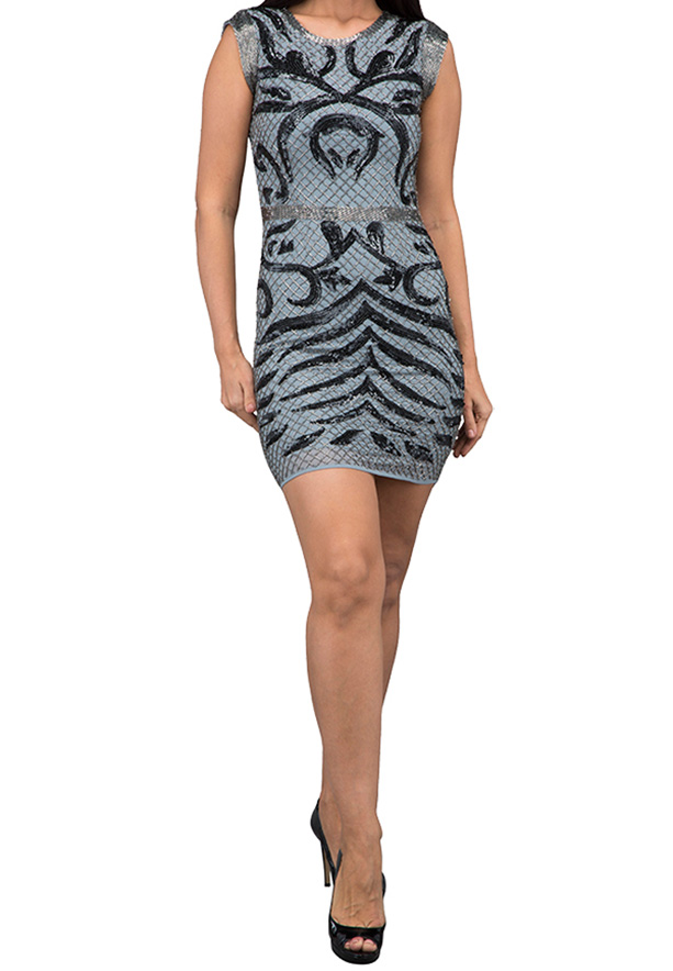 TFNC London Maita Emb. Party Dress Grey - ANQ 15670 - L