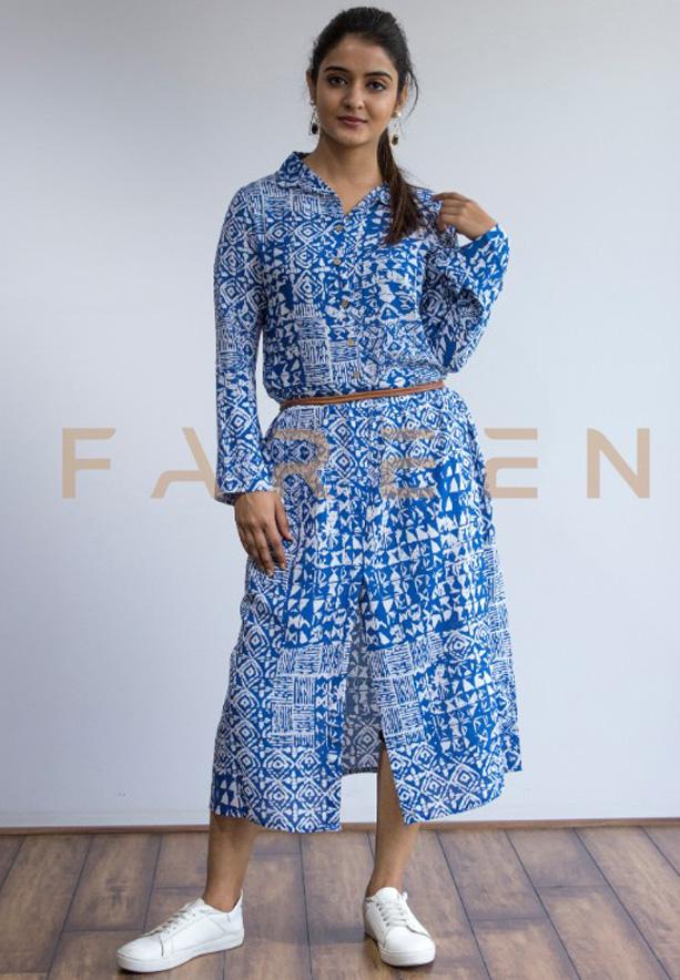 Ruky Fareen Long Top Full Sleeve Kurthees Cotton with Belt - RF 125 - M