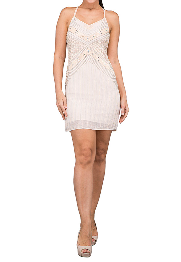TFNC London Kandi Emb. Midi Party Dress Nude - EB 11731 - L