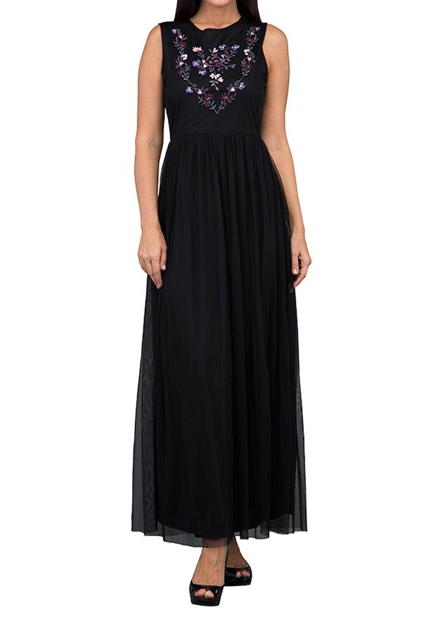 TFNC London Embroidered Maxi Maxi Dress Black - LNB 40370 - L