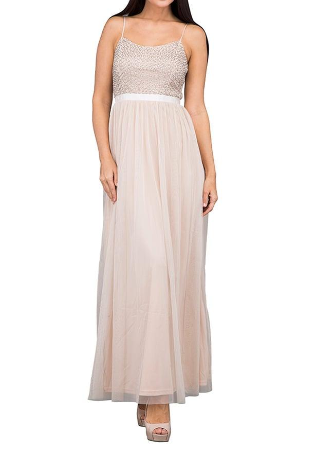 TFNC London Garnet Maxi Evening Dress Nude - LNB 50470 - XL