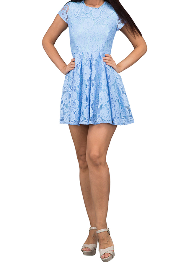 WAL G Italy Lace Mini Casual Dress Blue - WG 5552 - XXL