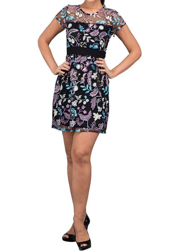 WAL G Italy Net Embroidered Party Dress Black - CH 7715 - L
