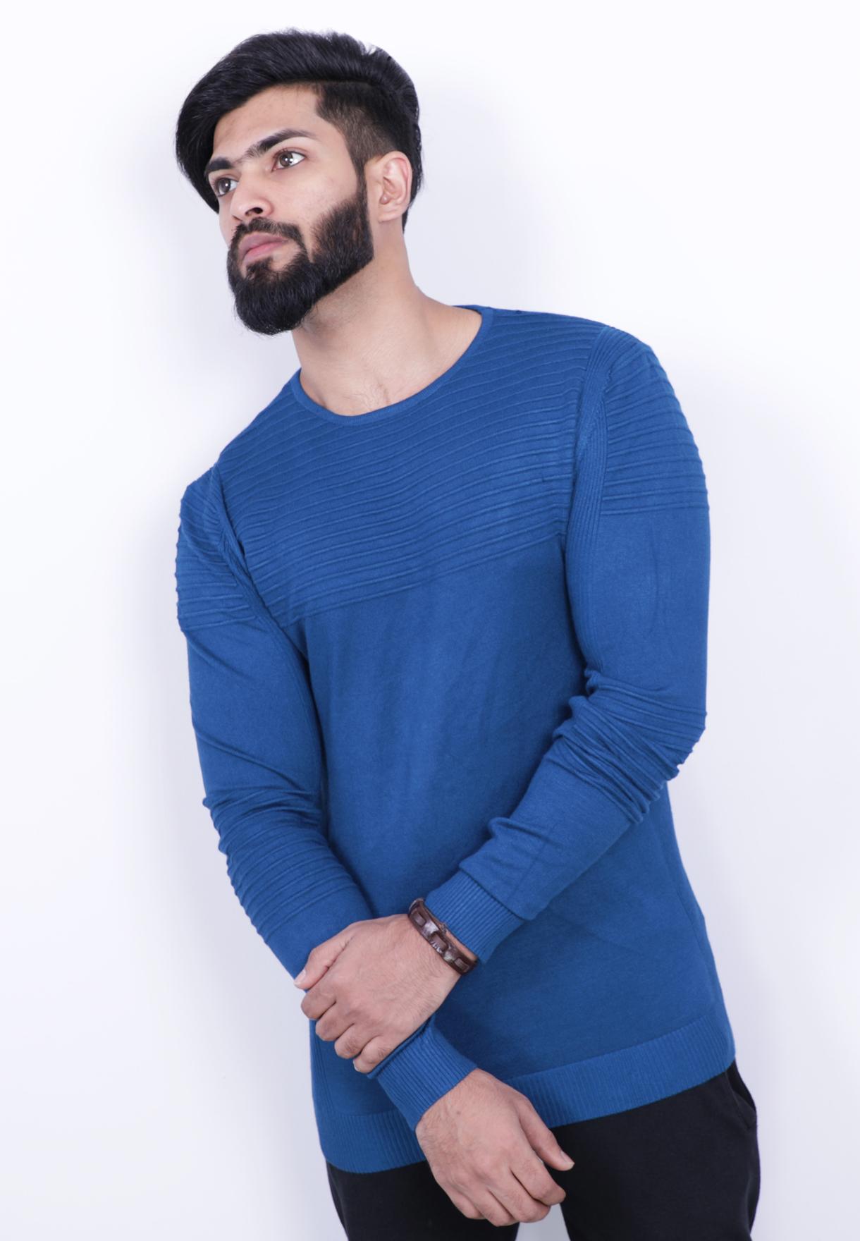 Score Jeans Mens Sweater Full Sleev Blue - HF533 - L