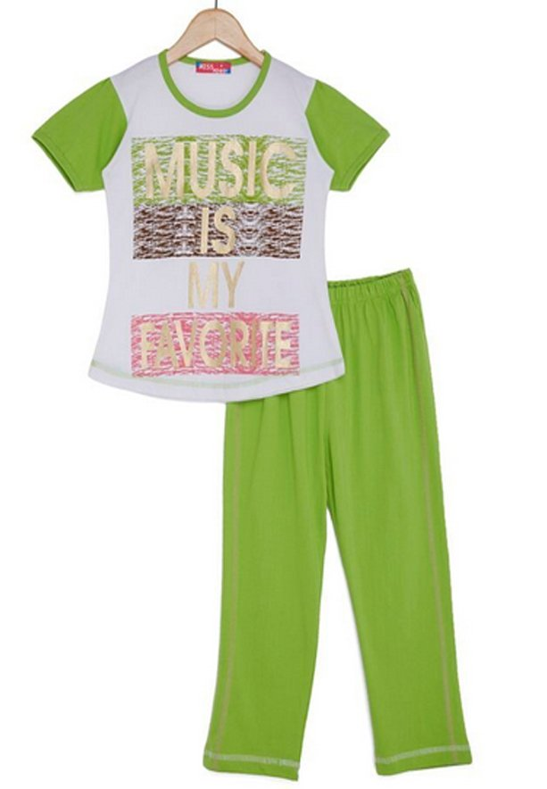 Miss Penny Girls  S/S 2-Pcs Set W/Pajama _MP-64-White12 Yrs
