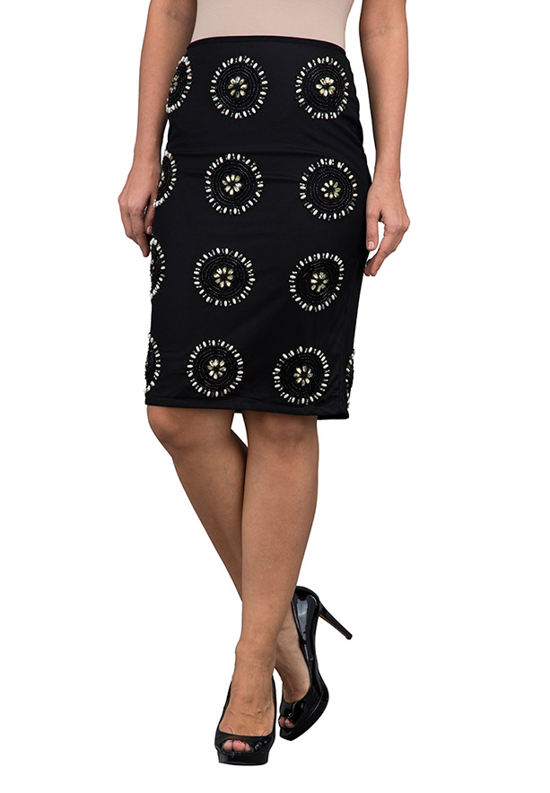 TFNC London Beaded Skirt Midi skirts Black - ANQ 01531 - M