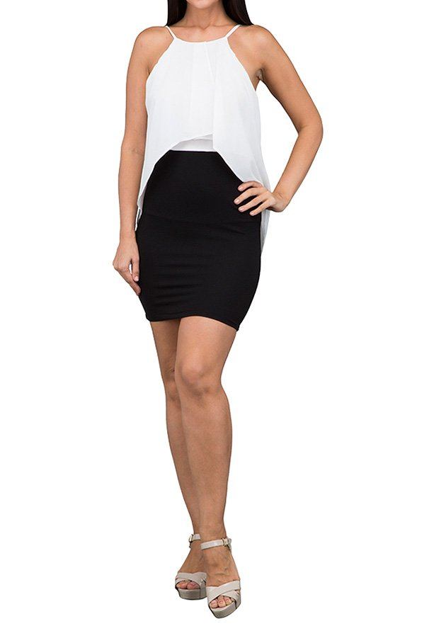 TFNC London Lucyl Duo Colored Formal Dress Black/White - ANT 37570  - L