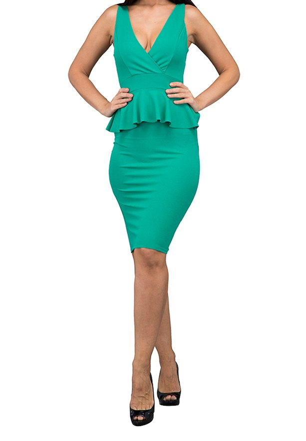 WAL G Italy Peplum Fitted Party Party Dress Green - WG 7214 - XL