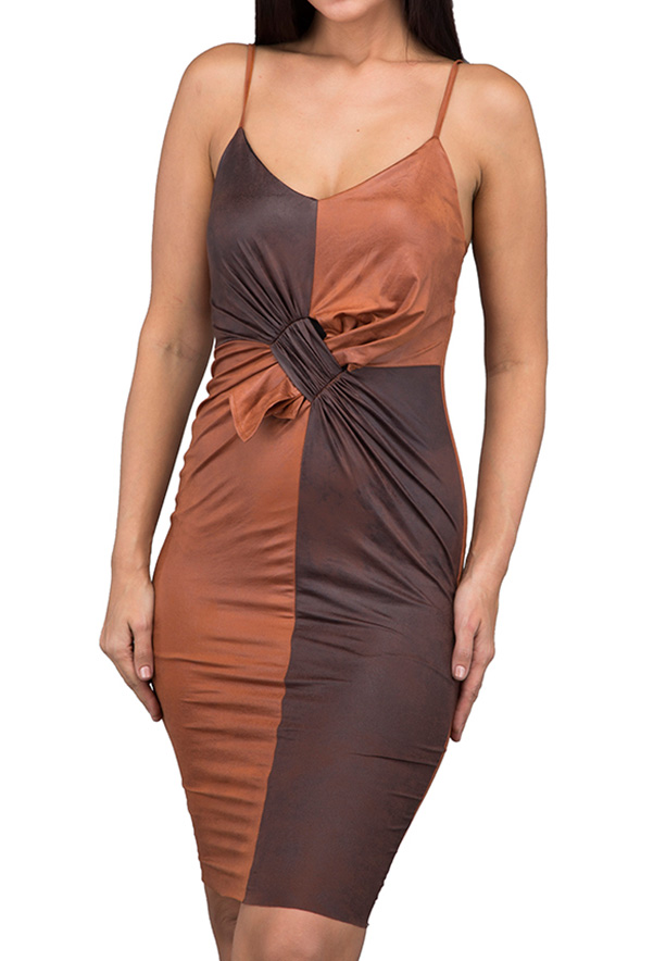 TFNC London Freede Leather Look Formal Dress Tan - ANT 62170 - L