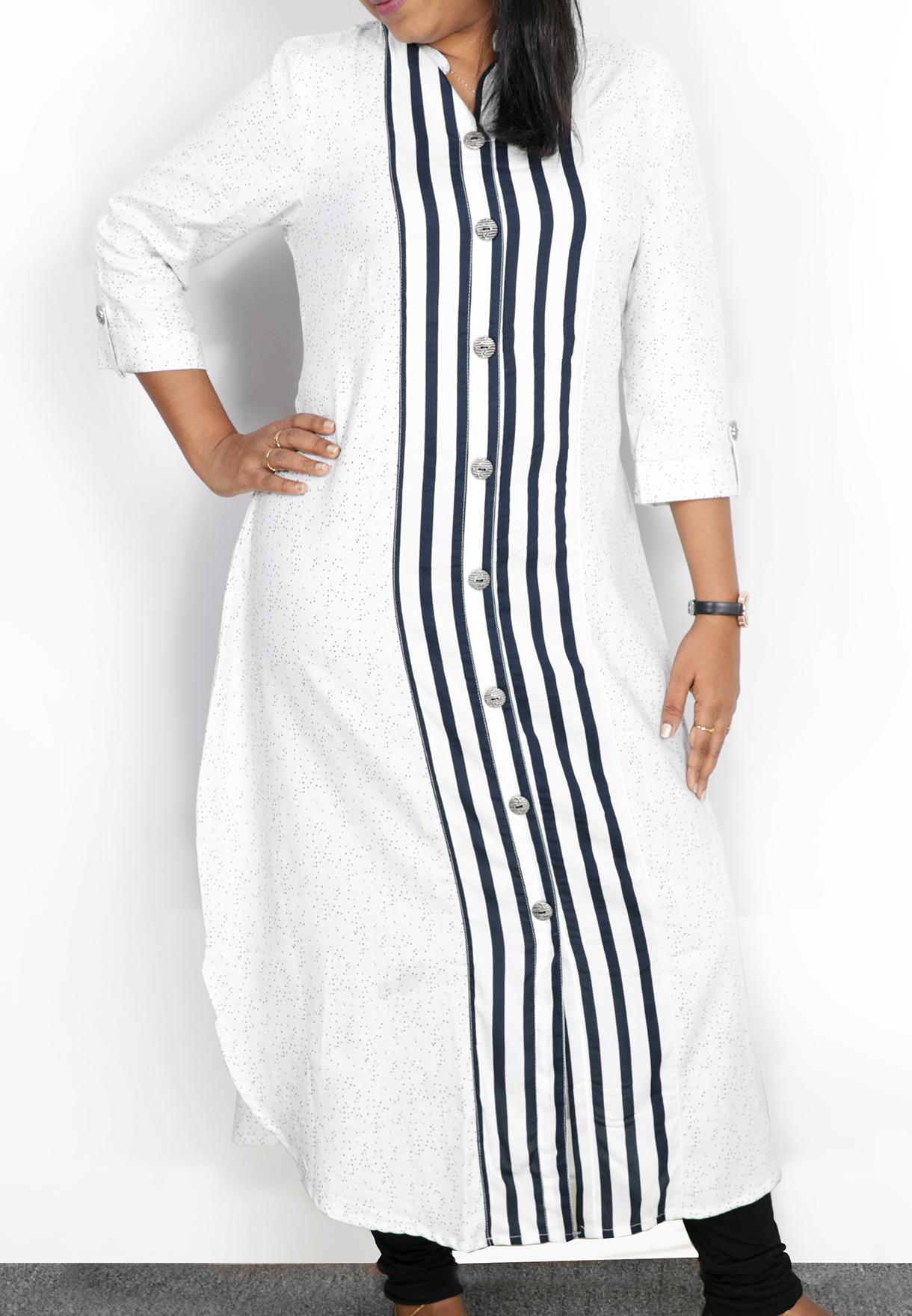 Ruky Fareen Long Top Full Sleeve Kurthees Cotton White Stripes - RF 106 - M