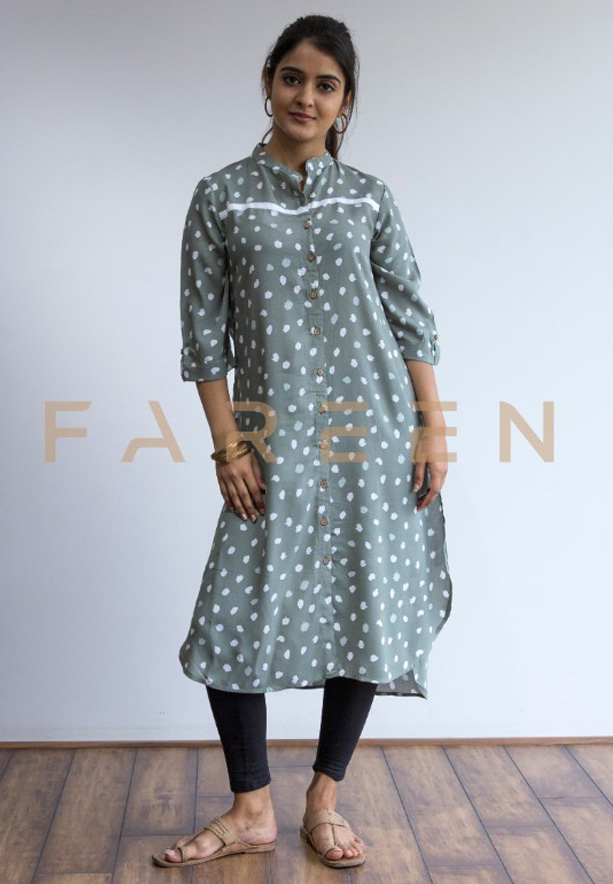 Ruky Fareen Long Top Full Sleeve Kurthees Cotton - RF 128 - M