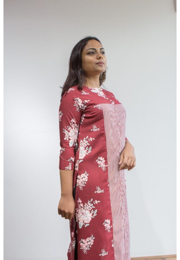 Ruky Fareen Women Long Top Flair Kurti Full Sleeve - RF 211 - XL