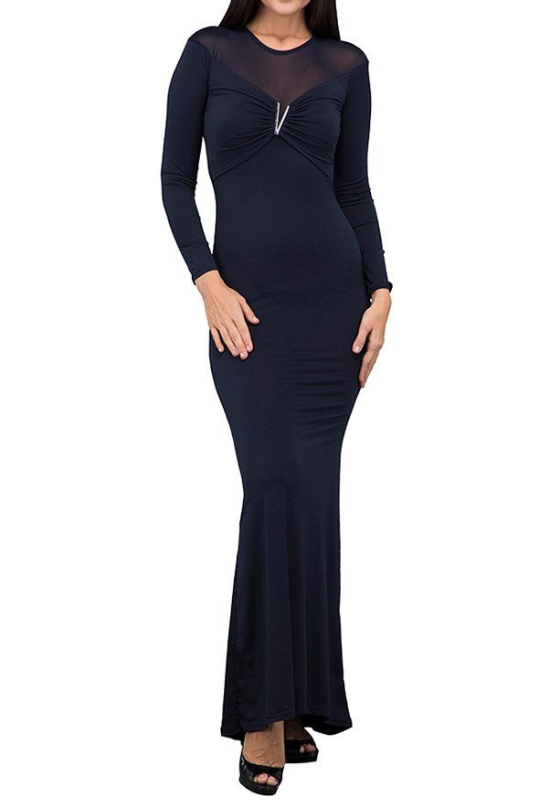 TFNC London Nancy Long Sleeve Maxi Evening Dress Navy - ANT 54570 - L