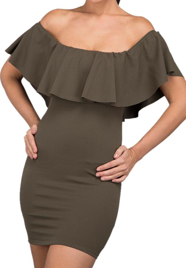 WAL G Italy Bardot Casual Dress Khaki - CH 88040 - XXL