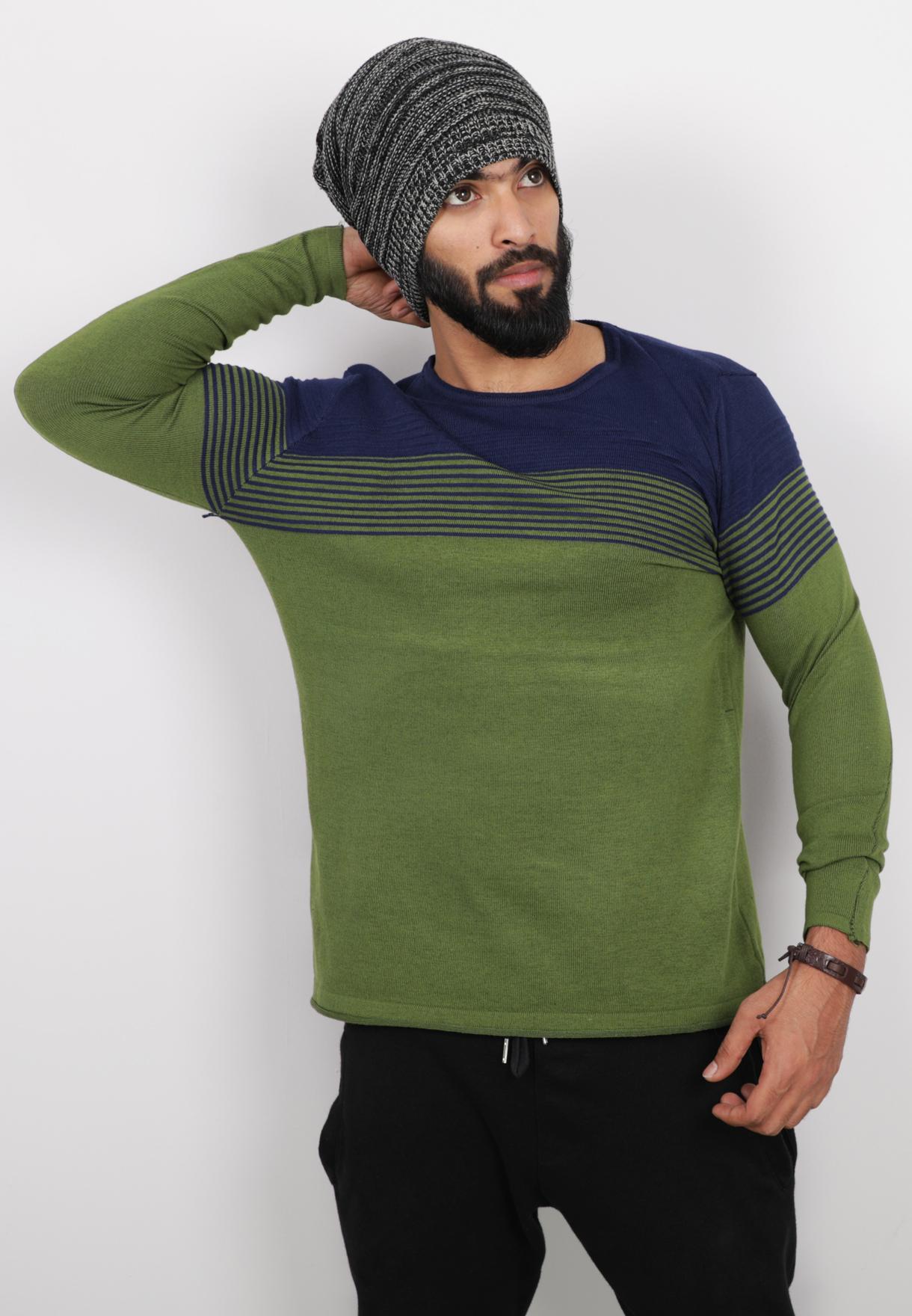 Score Jeans Tshirt Full Sleeve Green - RO4 - L