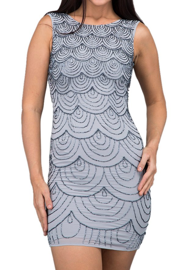 TFNC London Kaitlyn Sequin Party Dress Grey - LNB 14470 - L