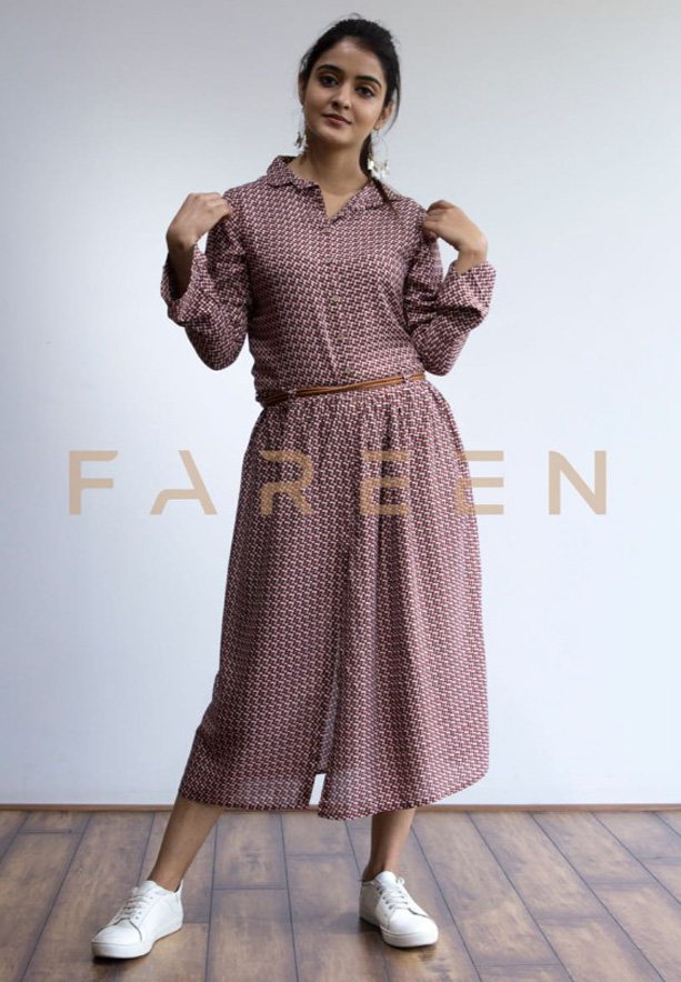 Ruky Fareen Long Top Full Sleeve Kurthees Cotton with Belt - RF 122 - M