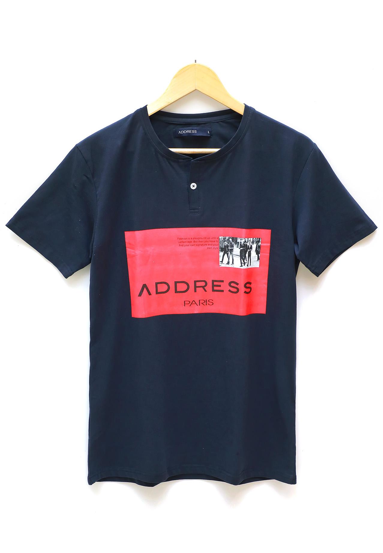 Address Printed T-Shirt Blue, Large
