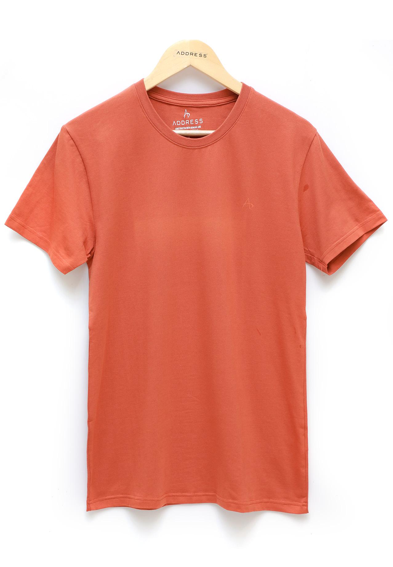 Address Orange Plain T-Shirt Round Neck, XL