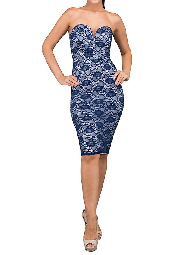 TFNC London Halo Midi Lace Party Dress Navy - CTT 07471 - L