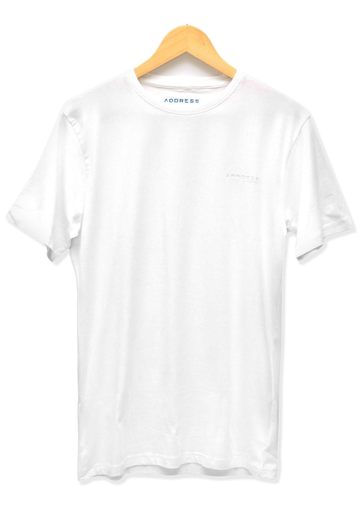 Address White Plain T-Shirt Round Neck