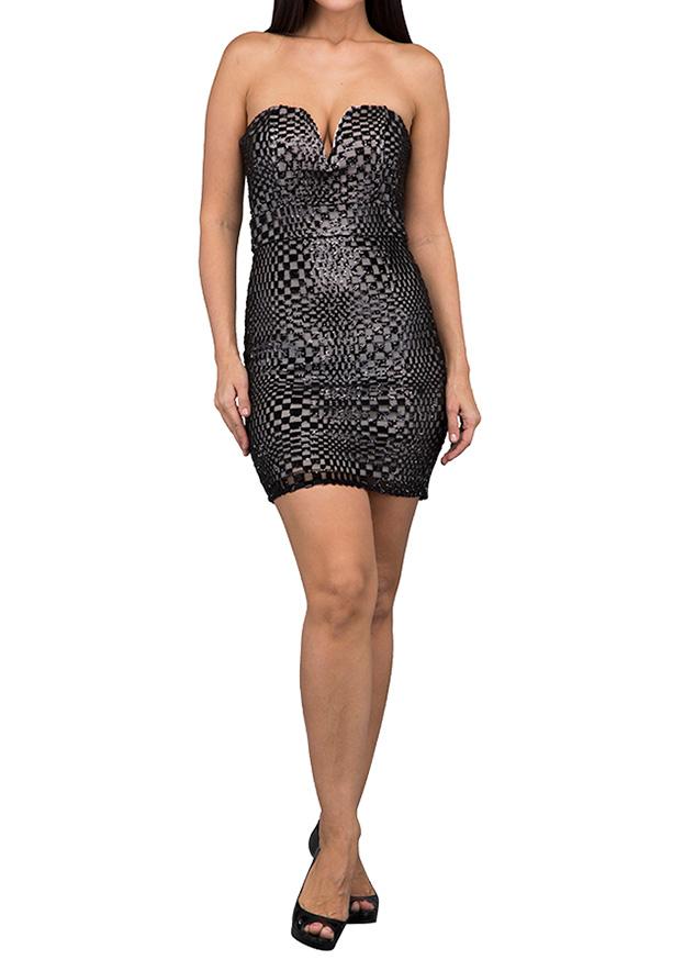 TFNC London Halo Mini Square Sequin Party Dress Black - CTT 22270 - L