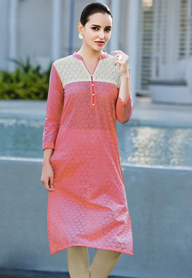 Mist Cotton Schiffli work Kurtis Red - L