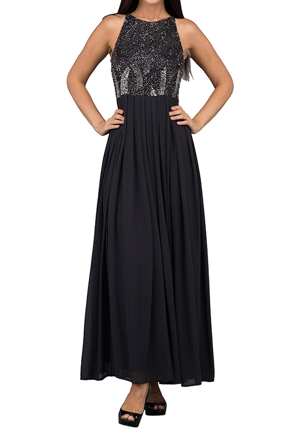 TFNC London Trudi Maxi Evening Dress Dark Grey - ANQ 41670 - L