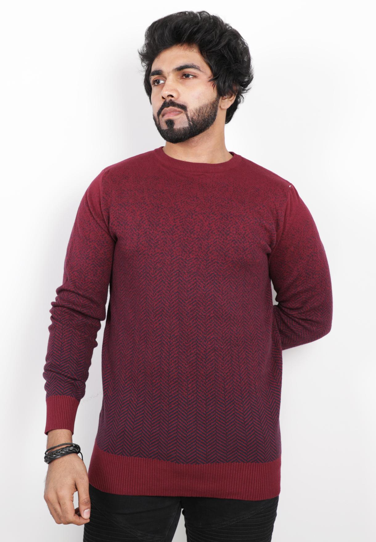 Score Jeans Mens Sweater Full Sleev Red - HF585 - M