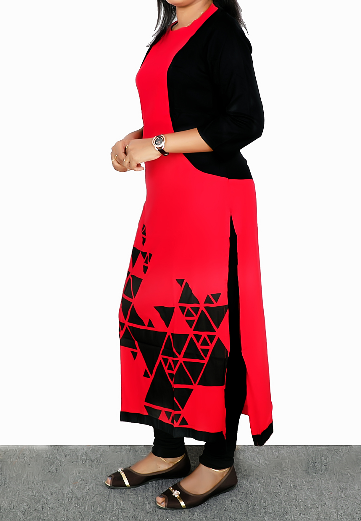 Ruky Fareen Long Top Full Sleeve Kurthees Cotton Red - RF 109 - M