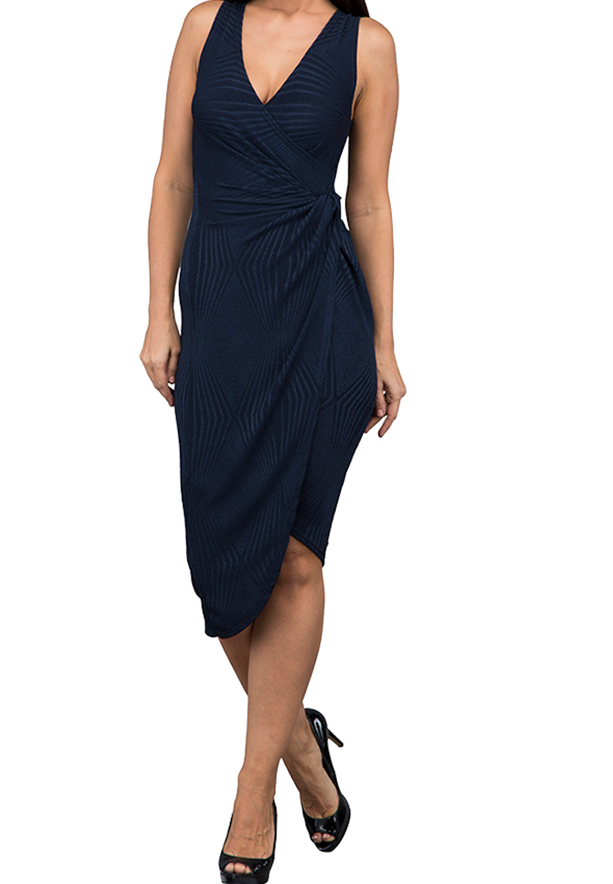 WAL G Italy Textured Formal Dress Navy - WG 61123 - XL