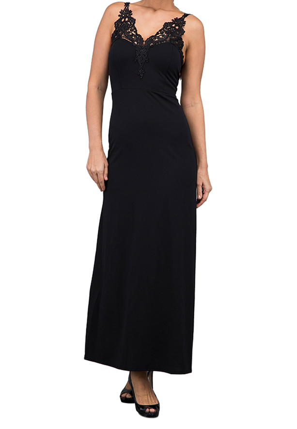 WAL G Italy Lace Strap Maxi Maxi Dress Black - CH 7008 - M