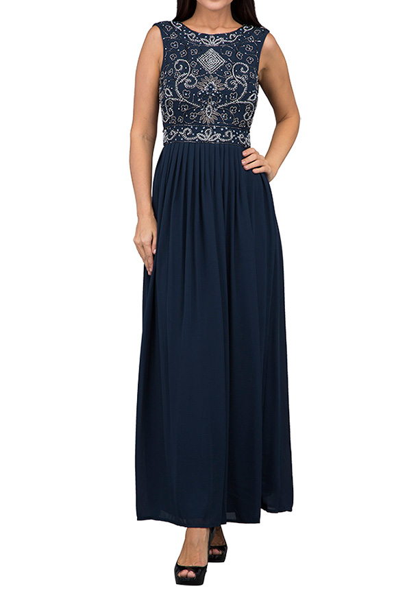 TFNC London Paula Sequin Top Maxi Evening Dress Navy - TNV 00270 - XL