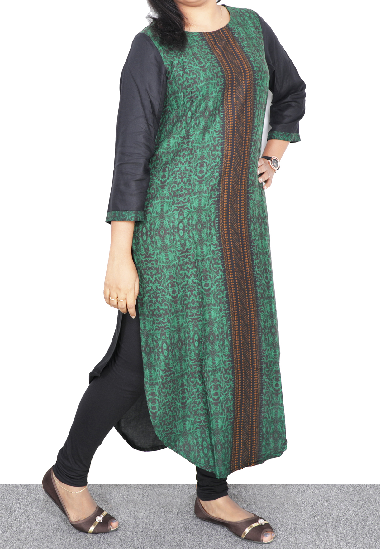 Ruky Fareen Long Top Full Sleeve Kurthees Cotton Green - RF 107 - M